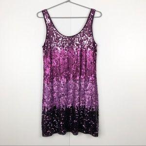 Express Ombré Pink Sequin Dress